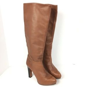 Zara Platform Knee-High Leather Heeled Brown Boots